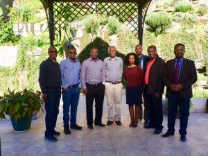 From right to left, Rev. Teshome Amenu Prof. Brehanu Kotiso, Mrs Helen Behairu, Dr Tesfaye Yacob, Dr Misgana Mathewos ,Ato Tsegahun Assefa and Ato Theodros Beyene. Ato Desta Lambebo behind Helen Behiru, back row